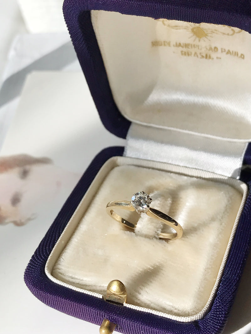 Mid-Century Diamond Solitaire Engagement Ring