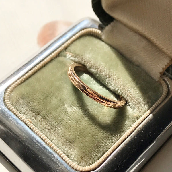 Russian Made Beveled Gold Wedding Band, Size 5 3/4