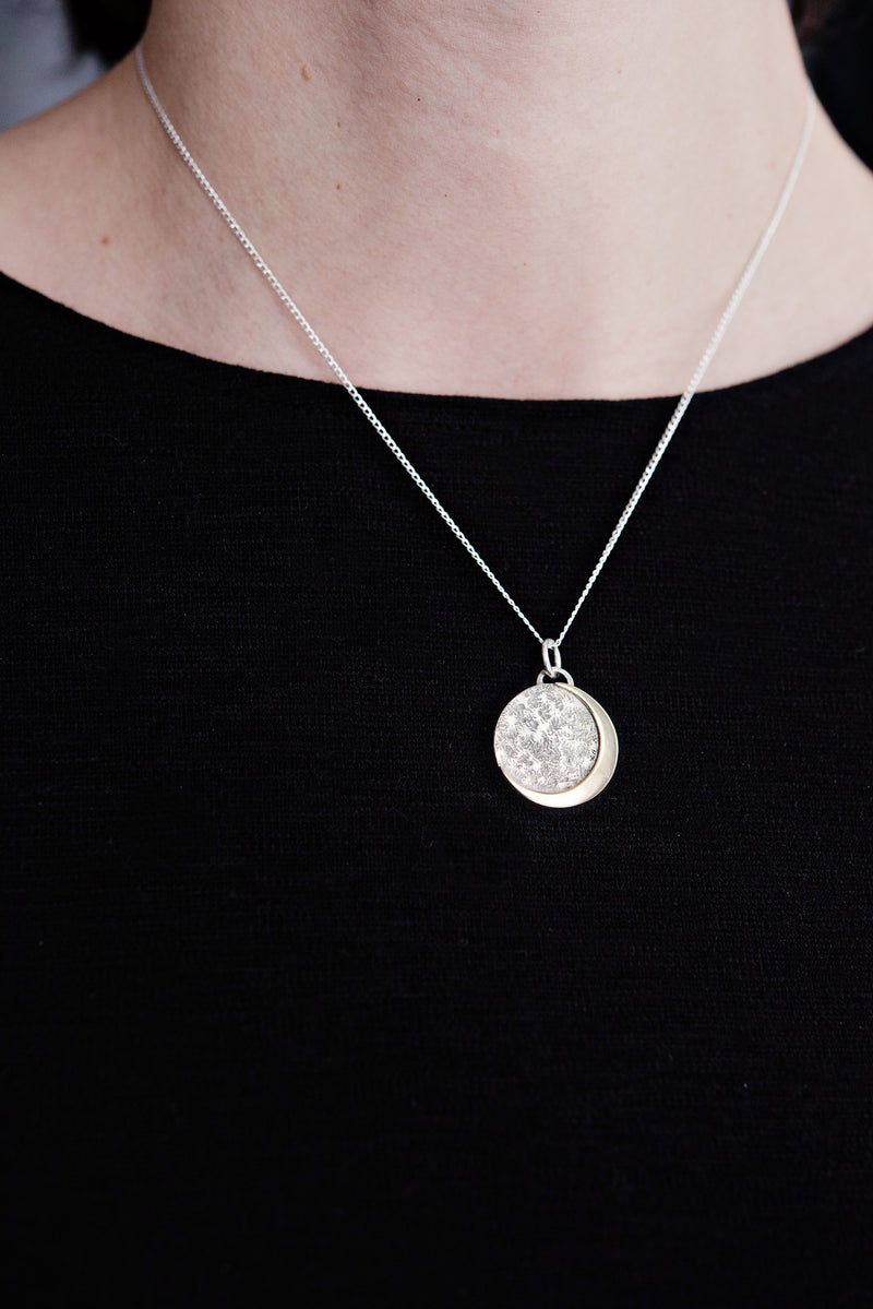 crescent moon necklace | life transition, fertility, goddess necklace | hand engraved mantra necklace | custom birthstone necklace