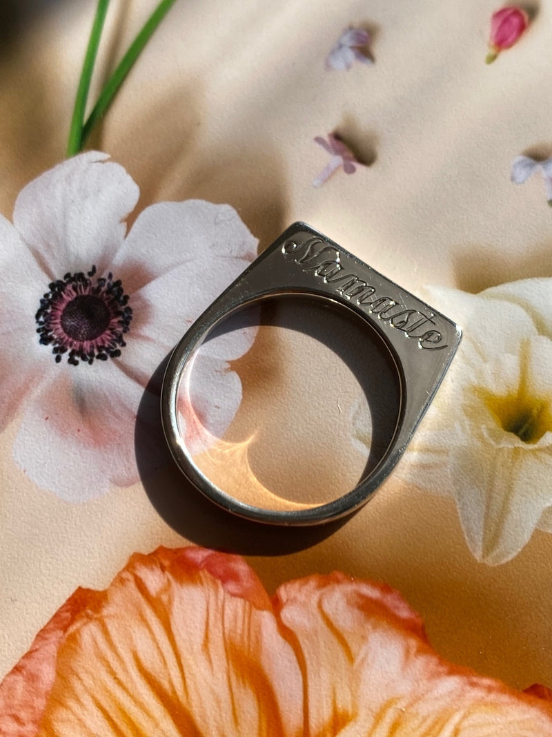 Silver Double Sided Signet Ring with Custom Hand Engraving