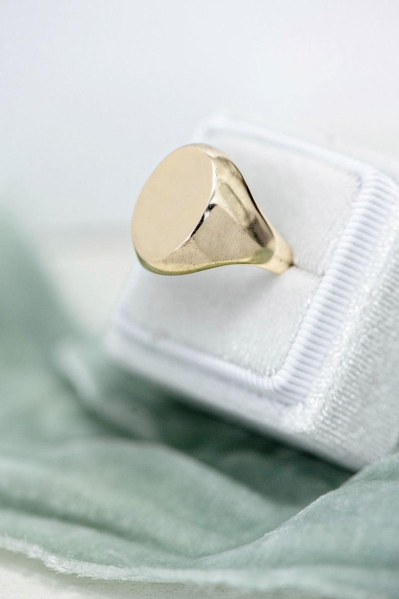 Classic Signet with Custom Hand Engraving in Gold