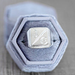 Art Deco Silver Square Signet with Custom Hand Engraving