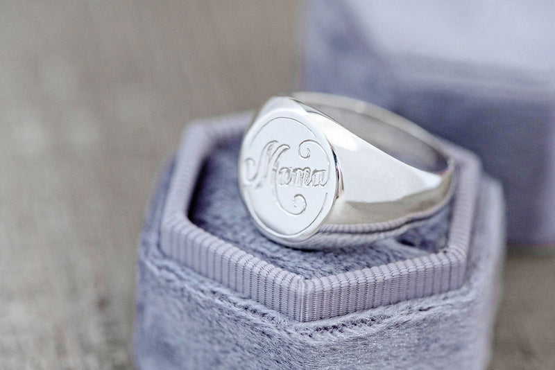 Classic Signet with Custom Hand Engraving in Sterling Silver