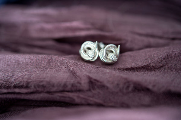 Recycled sterling silver Snake Stud Earrings | antique style small symbolic earrings | fertility, love, rebirth jewelry
