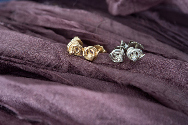 Snake Stud Earrings | antique style small symbolic earrings | fertility, love, rebirth jewelry