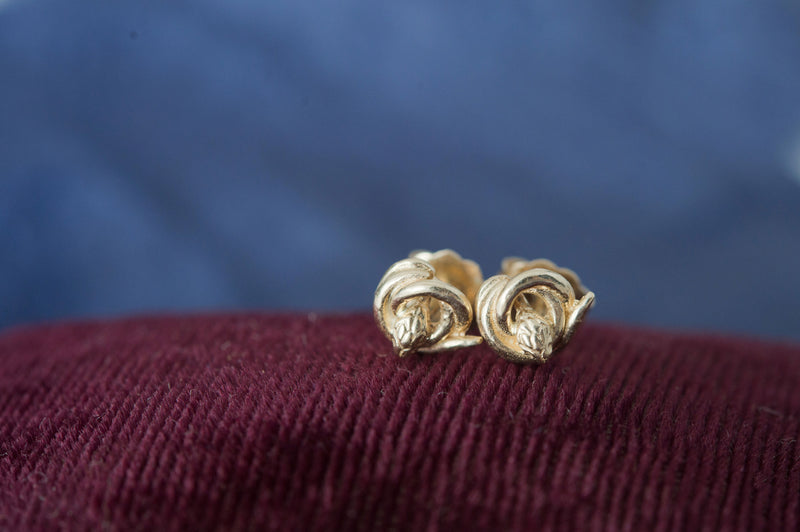 recycled Gold Snake Stud Earrings | antique style small symbolic earrings | fertility, love, rebirth jewelry