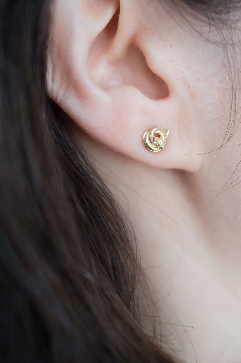 14k Gold Snake Stud Earrings in Philadelphia