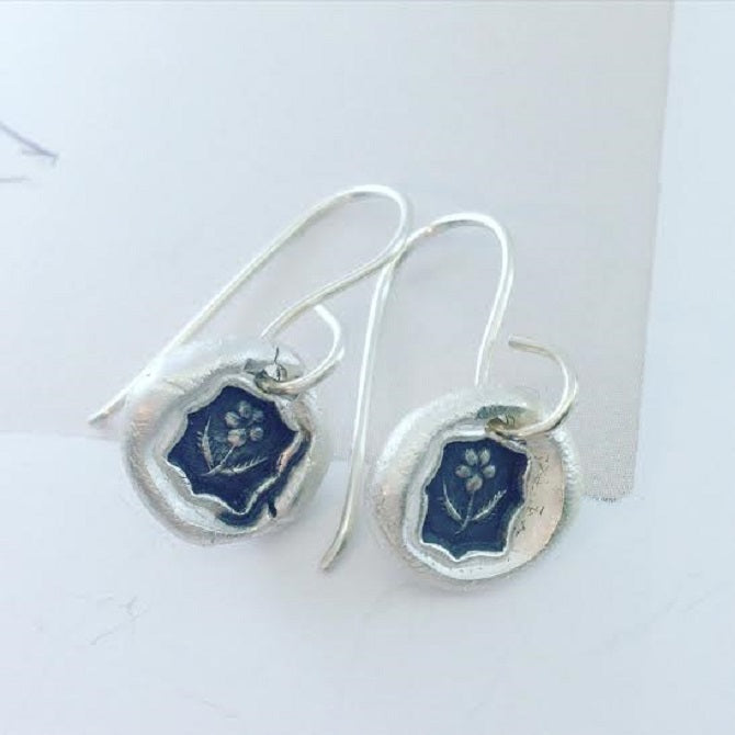 Forget-me-not Flower Wax Seal Earrings