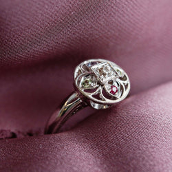 Art Deco style custom engagement ring | mother ring | custom birthstone ring made in Philadelphia, PA