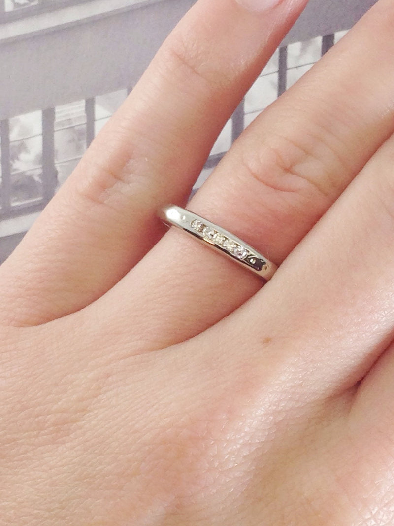Art Deco diamond wedding band ring | vintage 14k white gold dainty simple geometric bridal stacking ring | fine wedding jewelry | size 5 3/4