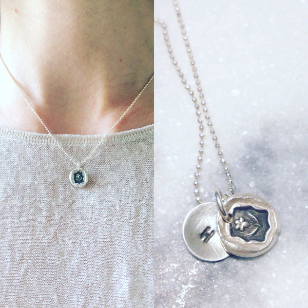 Custom forget-me-not flower wax seal necklace | grief mourning love flower charm | miscarriage, pet loss, loss of loved one jewelry