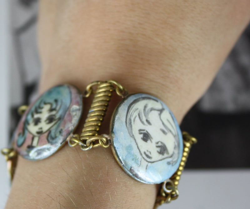 Vintage enamel panel bracelet | lady girl fun cameo bracelet | 1970's bohemian folk art jewelry | Audrey Hepburn bangle
