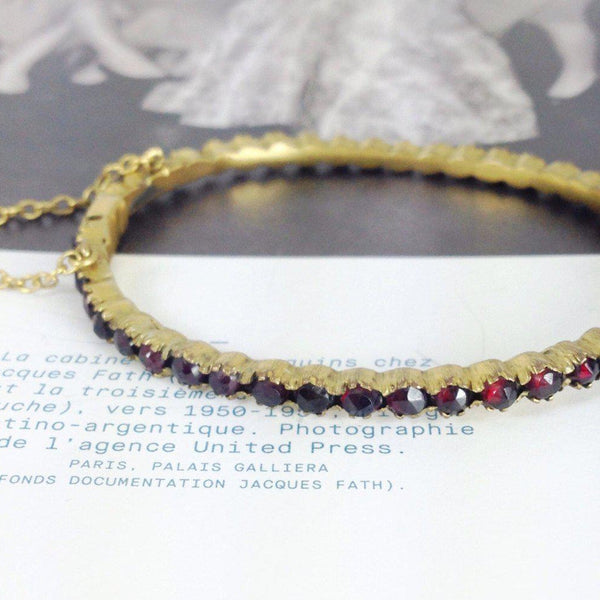 Antique simulated garnet bangle bracelet | Victorian brass and red spinel small hinged bracelet | dainty red bridal stacking bracelet