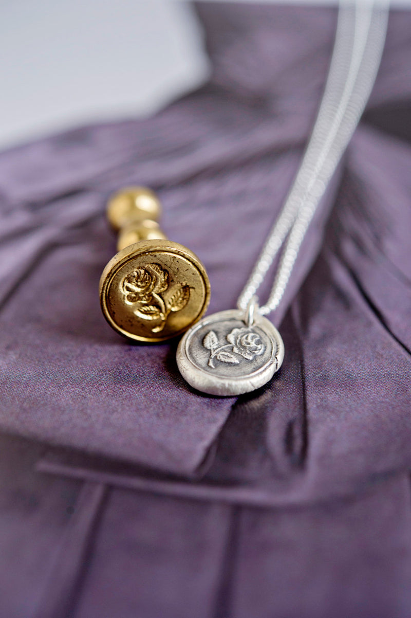 Wax seal charm necklace | vintage style personalized custom charm sterling silver necklace | symbolic meaningful charm necklace
