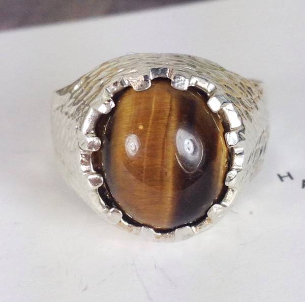 Vintage tiger's eye signet ring | men's unisex brown stone sterling silver ring | fur organic texture ring | British hallmarks | size 6