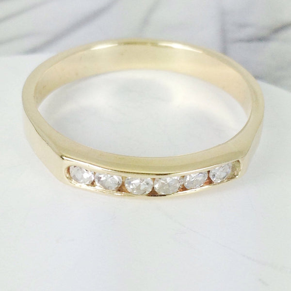 Vintage diamond wedding band ring | 14k yellow gold 6 stone fine bridal engagement stacking jewelry | geometric Art Deco style | size 6 3/4
