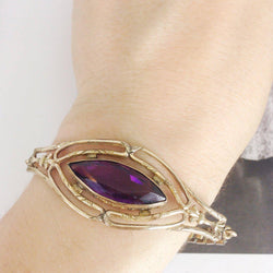 Antique 1920's purple glass bracelet | vintage expandable watch chain gold filled bracelet | Art Deco bracelet | purple wedding jewelry