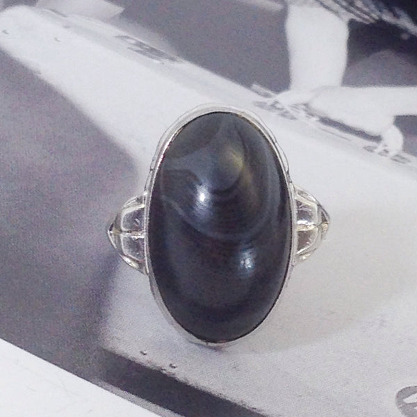 Vintage Art Deco silver gothic ring | 1930's black stone agate oval ring | architectural Ostby Barton style ring | size 4.5