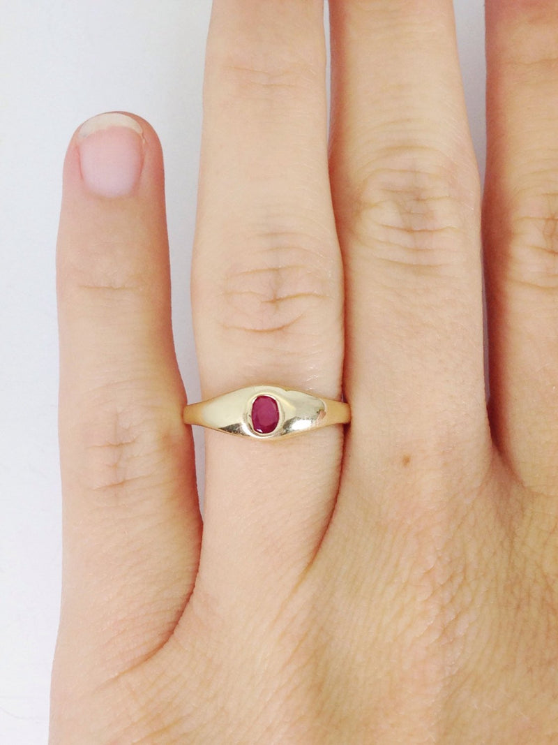 Vintage ruby solitaire ring | 14k gold stack engagement promise ring | red gemstone July birthstone | bridal fine jewelry | size 5 3/4