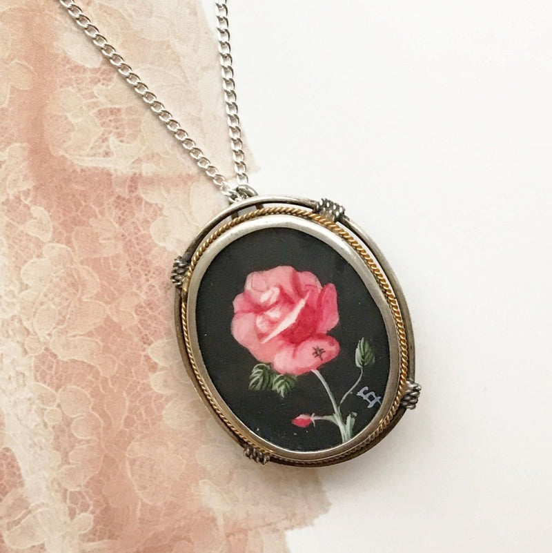 Vintage rose painting necklace | 800 silver | 1940's Art Deco Italian hand painted flower pendant brooch | romantic love bridal jewelry