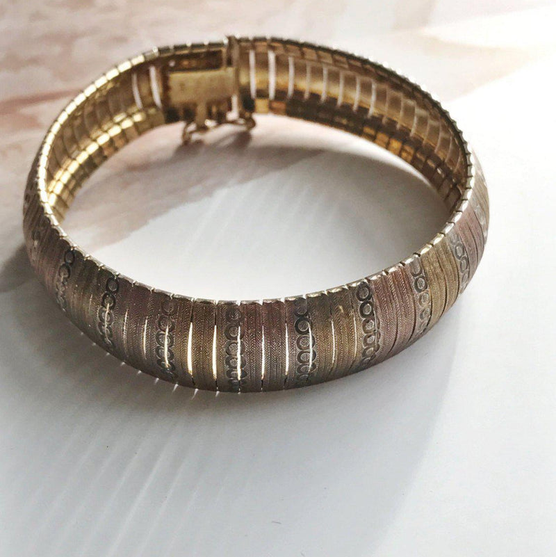 Vintage rosy gold Italian bangle | gold plated snake accordian tricolor retro bracelet | circle pattern | Milor Italy | 1980's punk jewelry