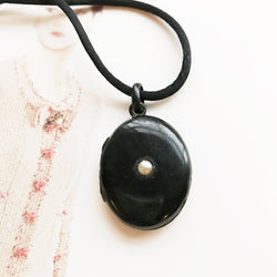 Antique Victorian mourning locket | late 1800's French mourning jewelry | black enamel and pearl locket | memento mori gothic locket