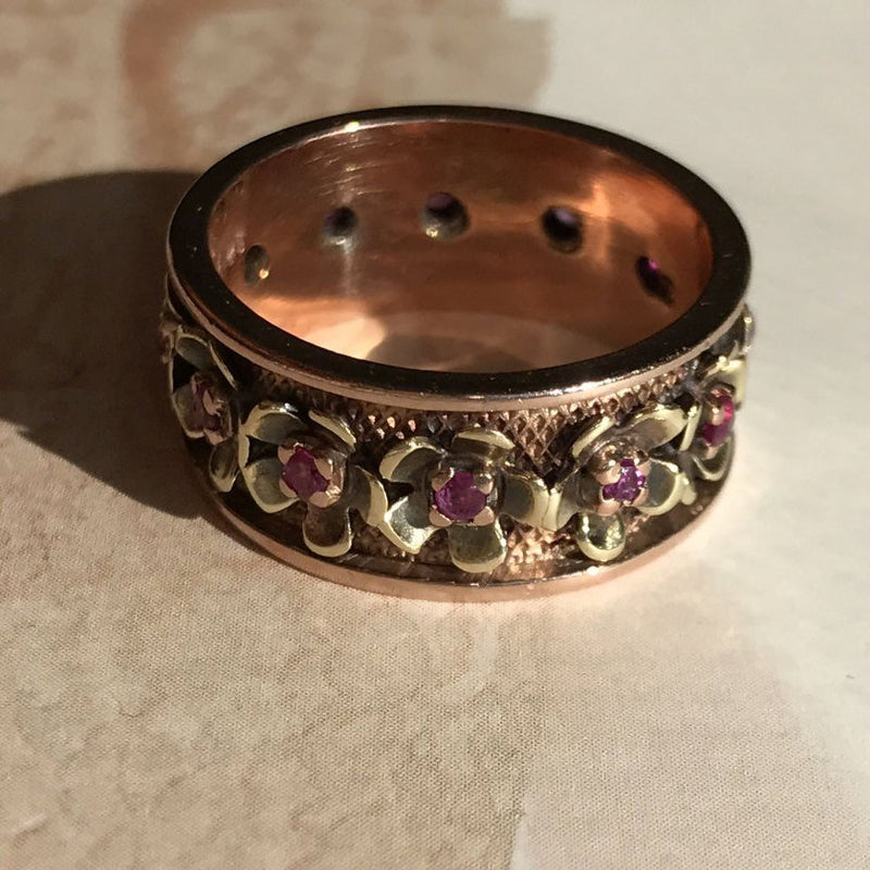 Vintage ruby flower cigar band ring | Victorian style 14k rose gold floral eternity wedding band | .45 carat rubies | fine bridal jewelry