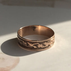 Antique Victorian cigar band ring | 14k rose gold leaf and ivy ring | signet nameplate | bohemian friendship | size 6 1/4