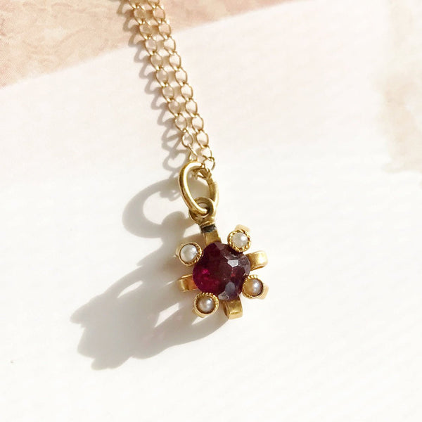 Antique pearl and pink tourmaline charm necklace | Victorian 14k gold small dainty four point cross pendant | Art Nouveau bridal jewelry