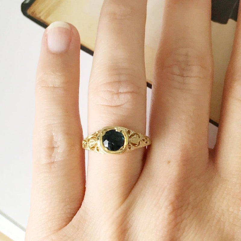 Vintage filigree sapphire engagement ring | 1950's Art Deco style | 14k gold Australian sapphire | cocktail bridal jewelry | size 5
