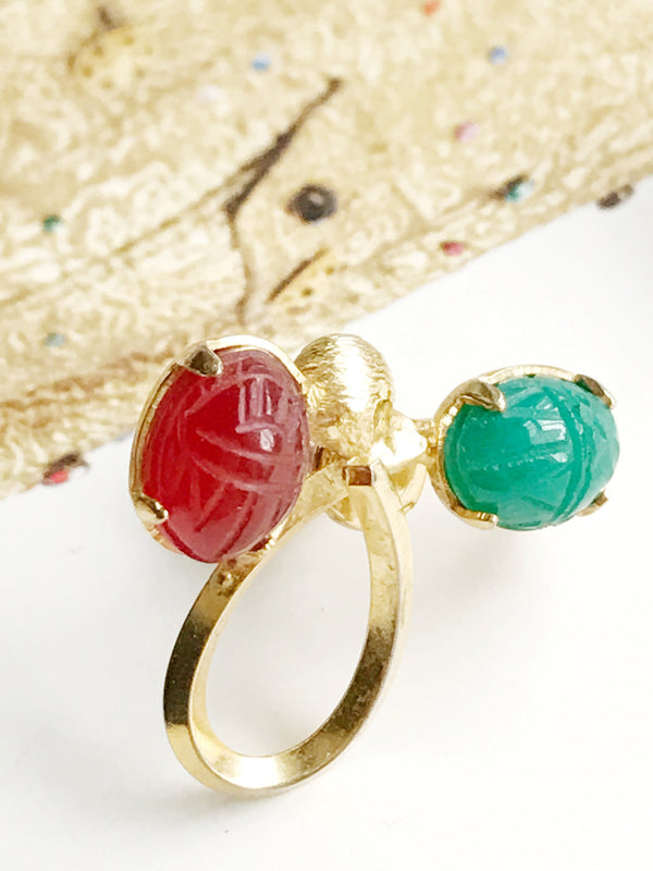 Vintage scarab screw back earrings | 1960's retro | carnelian, green chalcedony 12k gold filled | renewal, protection beetle