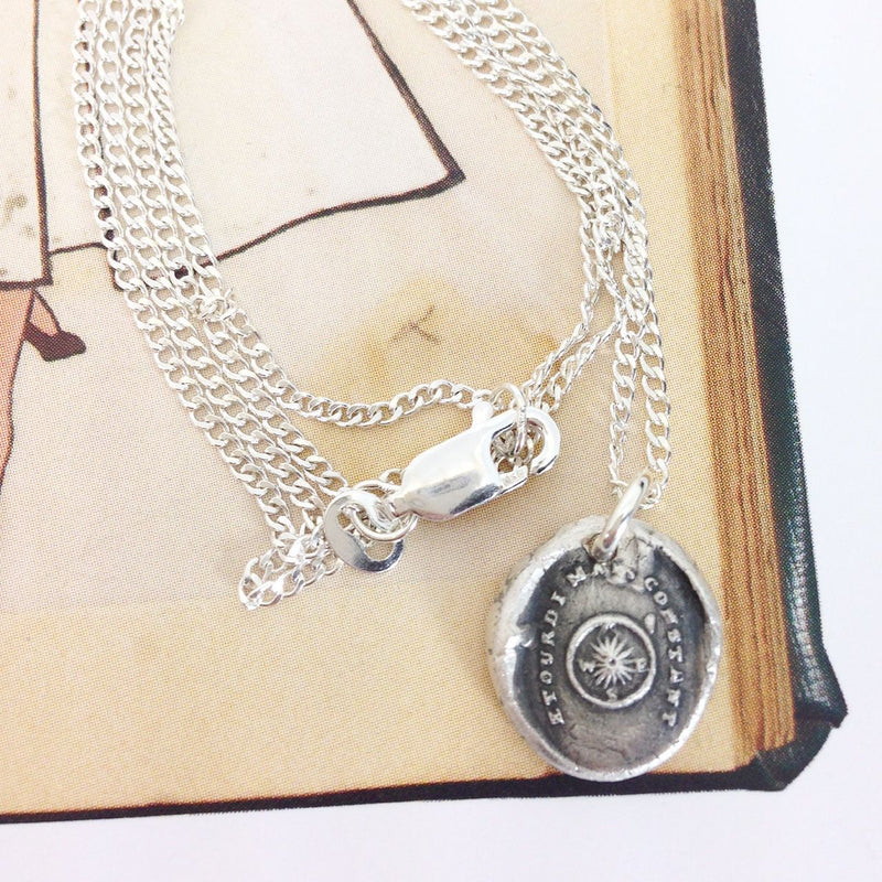Compass wax seal charm necklace | Shaken but Steady | French Victorian | grief, loss, mourning, hope, divorce talisman | friendship jewelry