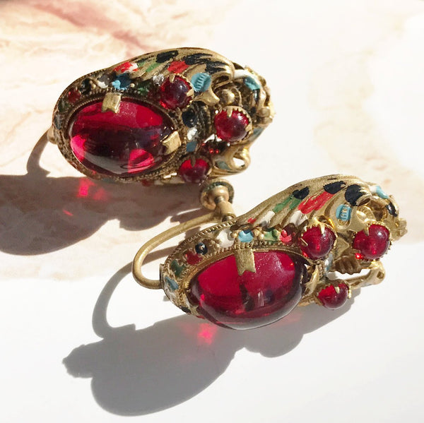 Art Deco red glass screw back earrings | Antique Czech glass simulated ruby enamel | brass costume jewelry | 1930's bridal clip earrings