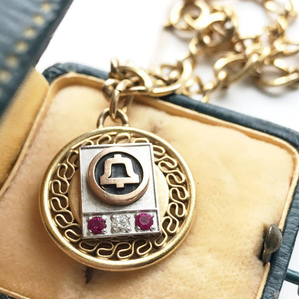 Vintage 12k gold filled Bell Telephone synthetic ruby and diamond charm bracelet | filigree chain link | 1960's nostalgic retro AT&T