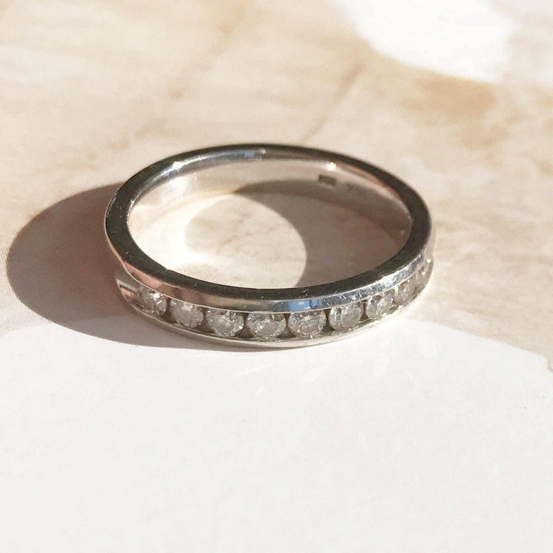 Vintage diamond wedding band | 14k white gold .33 CT Art Deco style | bridal fine stack jewelry | half eternity diamond band | size 5 1/4