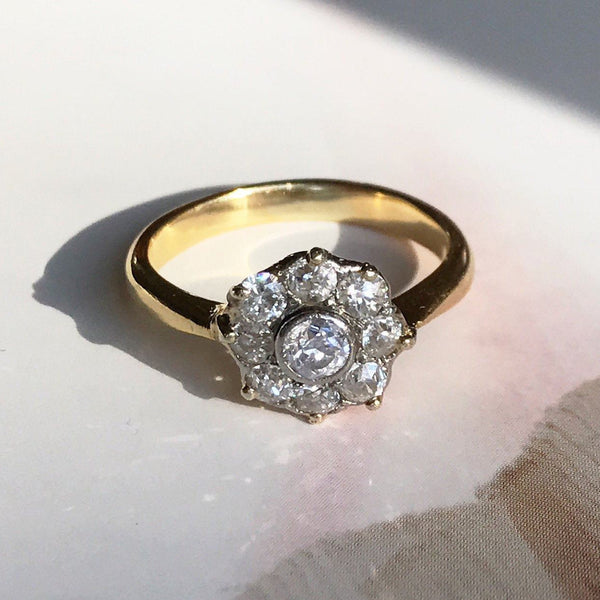 Antique diamond cluster ring | 18k yellow gold half carat star basket cathedral setting | Art Deco 1920's engagement ring | size 4