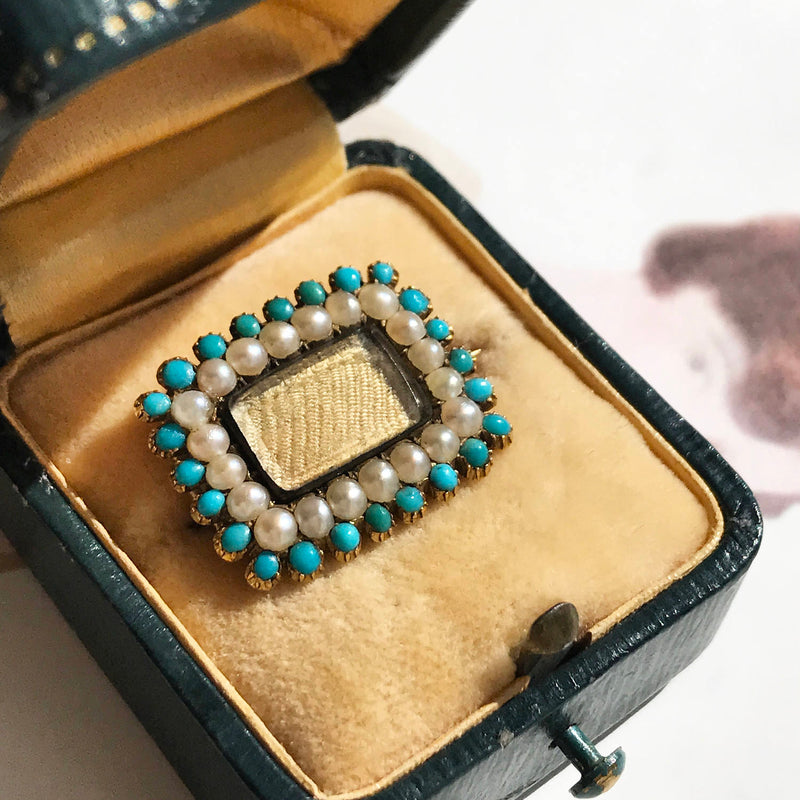 Rare Georgian 14k gold, turquoise and pearl blond hair mourning brooch pendant | early 1800s antique Victorian collectible mourning jewelry