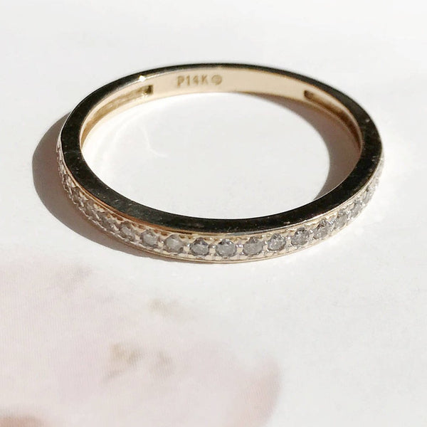 Vintage 1950's Diamond Wedding Band Ring | thin classic band | 20 stones .1 CTW 14k gold | Bridal wedding ring | diamond stack ring | size 9