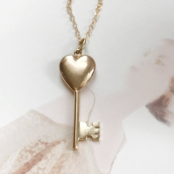 Vintage heart key charm necklace | 1960's 14k gold retro love sweetheart romance token | key to my heart charm | anniversary gift for her