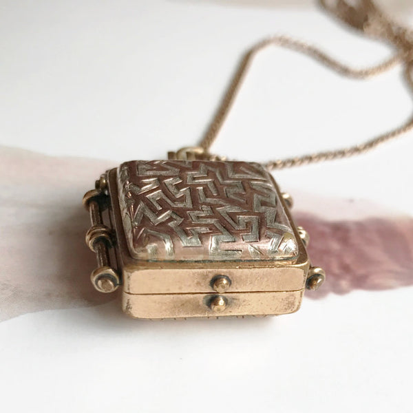 Antique Victorian fob locket | modernist square locket necklace | Victorian gold filled keepsake locket | rare unique locket | men's locket