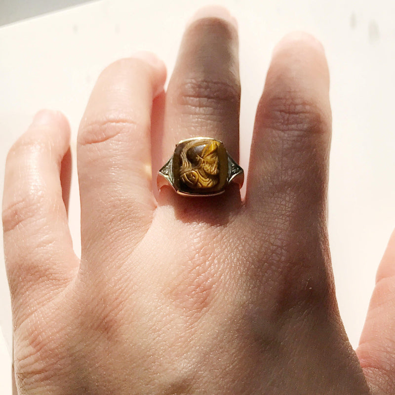 Vintage tiger's eye and diamond soldier signet ring | 10k gold | knight Roman warrior carved brown tiger eye gem cameo | size 6.5
