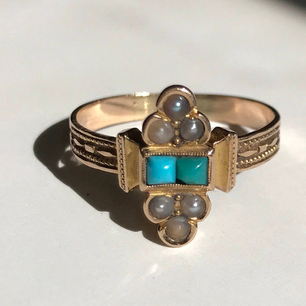 Victorian synthetic turquoise and pearl ring | 1900's 14k gold Egyptian revival style pyramid ring | blue white stone ring | size 5 1/4