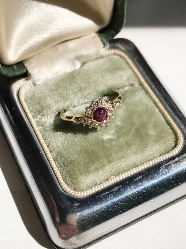 Art Nouveau simulated ruby and diamond halo engagement ring | antique 14k gold boho unique engagement | red stone engagement | size 5 3/4