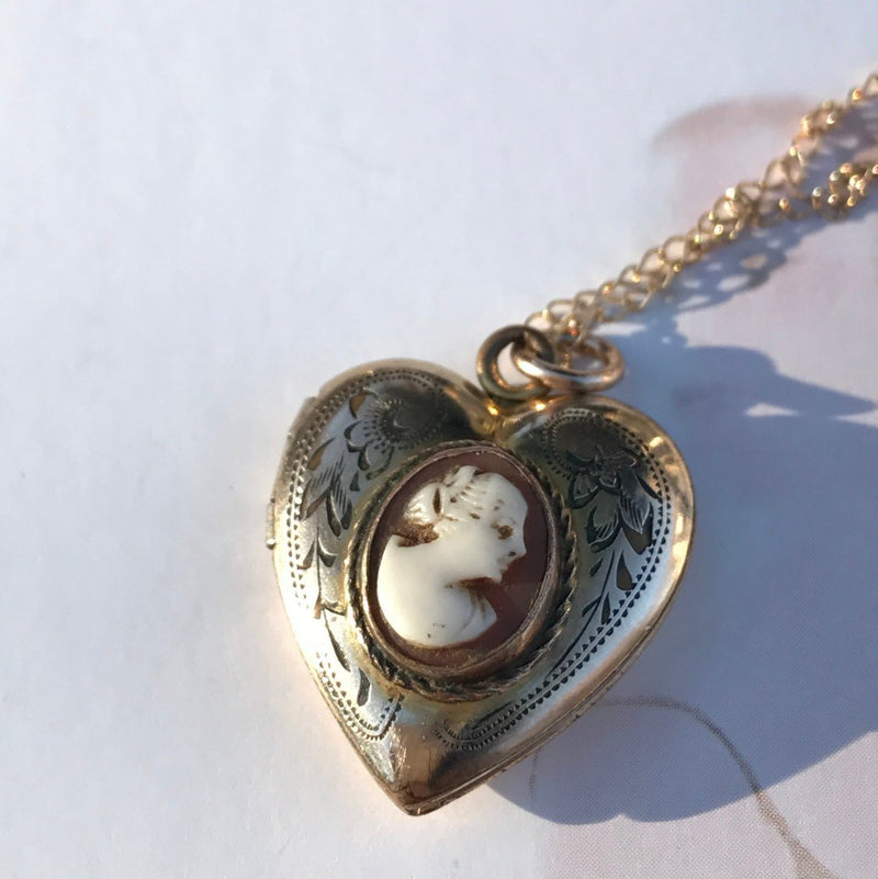 Vintage heart cameo locket | lady female silhouette carved shell locket | 12k gold filled floral locket necklace | 1950's sweetheart jewelry