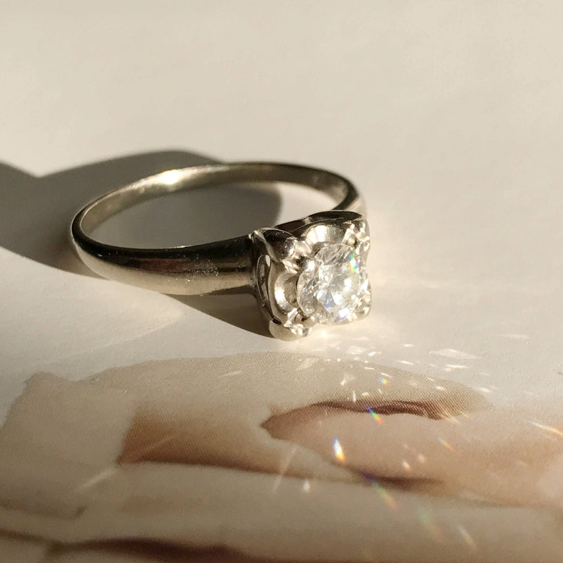 1950's square diamond engagement ring |  vintage 14k white gold .45 CT diamond solitaire | mid century square setting | size 6 3/4