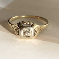 Antique Victorian diamond solitaire ring | 18k & 14k gold two tone | wheat sheaf | bridal engagement men's fine jewelry | size 6 1/4