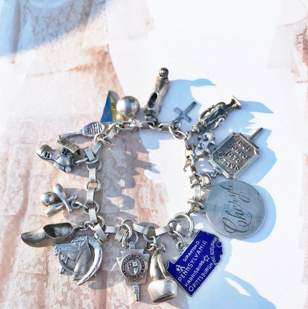 Vintage charm travel bracelet | 1960's sterling silver | Pennsylvania, Philadelphia, sports, William Penn, horse, travel, Cheryl charms