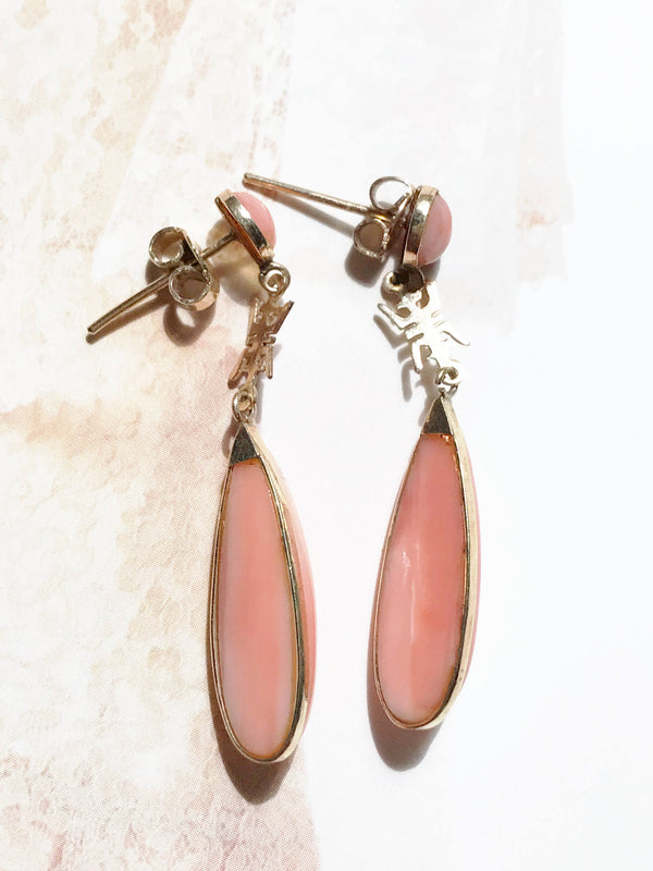 Vintage pink coral dangle drop earrings | Chinese character jewelry | 14k gold long teardrop | earthy bohemian lucky Asian bridal earrings
