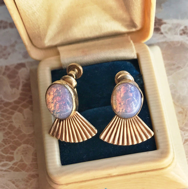 Vintage 1960's simulated opal gold fill screw back earrings | Van Dell fan clip ons | pink purple October stone | retro bridal earrings