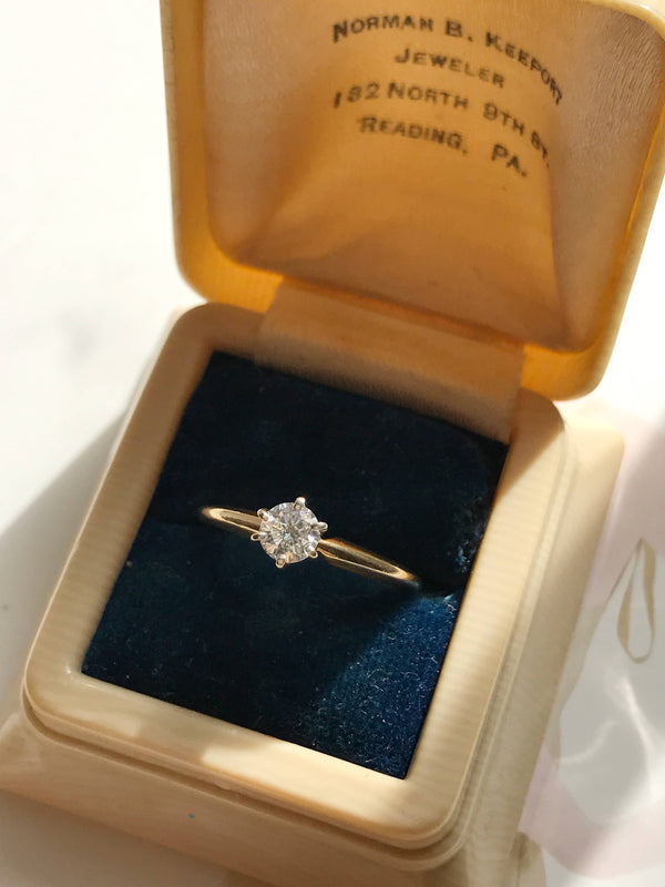 Vintage mid century diamond engagement ring | .33 CT solitaire two tone white and yellow gold classic ring | high prong setting | size 5 1/4